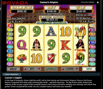Vegas online slots betting screen shot